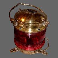 Nippon Sento Co. Ltd. Brass Lantern with Red Light