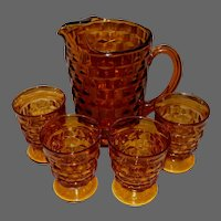 Vintage Set Amber Colored Glasses & Pitcher