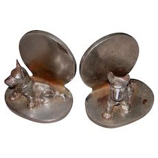 Pair Hubley Cast Iron-Chrome Scotty Dog Bookends