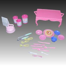 Assorted Lot Barbie Doll Size Plastic Kitchenware & Bed Tray