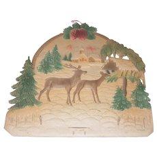 Early Die Cut Calendar Holder Winter Scene w/Deer