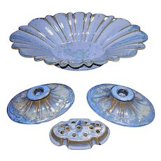 Mid-Century Fulper Pottery Console Set Complete w/Candleholders, Center Bowl and Tile Drainage-Flower Frog