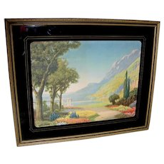 R. Atkinson Fox Lithograph Print in Original Reverse Painted Frame
