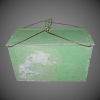 Vintage Green Ice Chest with Bail Handle