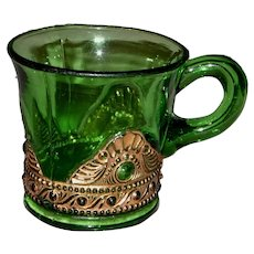 EAPG Emerald Green Cup with Embossed Gold Design