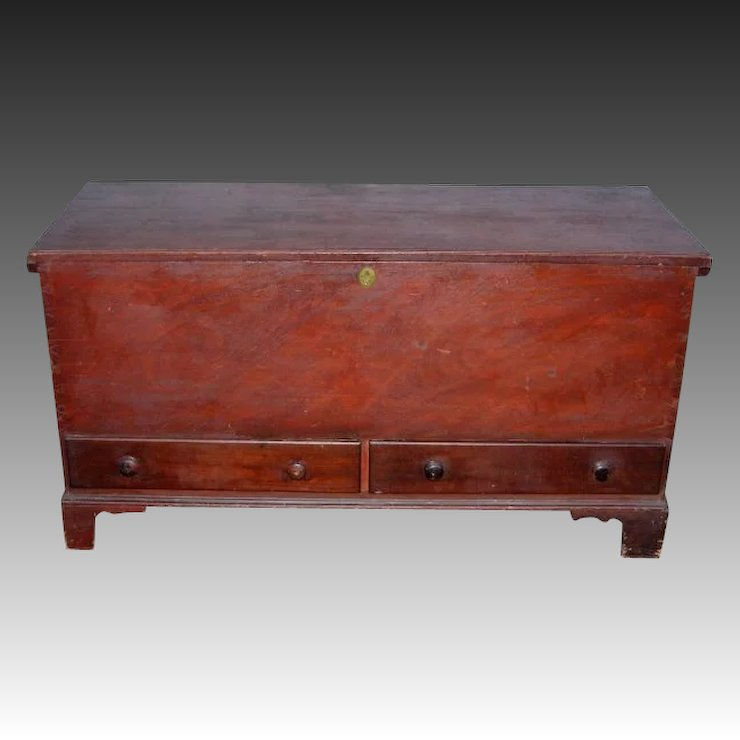 Country Chippendale Two Drawer Dower Blanket Chest In Old Red Paint Fenwood Studio Ruby Lane