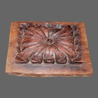 Early Hand Carved Oak or Mahogany Wood BlockPanel