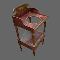 19th Century Maine Grain Painted and Stenciled Sheraton Washstand