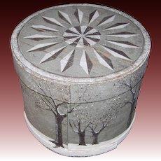 American Folk Painted Wood Hat Box/Pantry Box