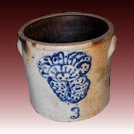 19th Century Stoneware Crock with Cobalt Design