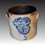 19th Century Stoneware Crock with Cobalt Design