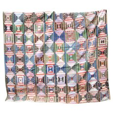 Log Cabin/Court House Steps Quilt (Circa Late 1800s)