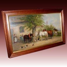 'Noonday Rest' Oil Painting by Listed Artist Josef Herrmanstofer.Munchen