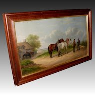 'Horses on a Lane' Oil Painting by Listed Artist Josef Herrmanstorfer.Munchen