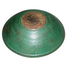 19th Century Hand-Turned Butter Bowl in Green Paint