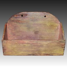 19th Century Painted Wall Hanging Candle Box