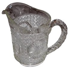 EAPG 'Amelia' by Imperial Glass Co. Cane and Star Medallion 16 oz. Pitcher
