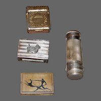 2 Mini Match Box Holders and 2 Match Safes