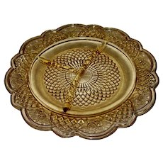 4 Federal Glass Chop Plates in Mayfair/Rosemary Pattern