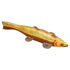 Hand Carved Yellow & Brown Fish Spearing Decoy