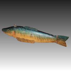 Hand Carved Pickerel Spearing Fish Decoy