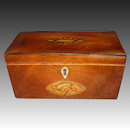 18th Century English Mahogany Tea Caddy with Satinwood w/Color Inlay
