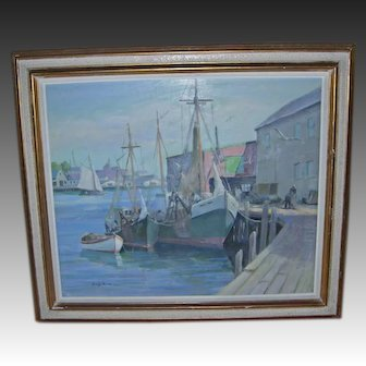 American Artist George Dinckel Harbor Scene (American 1891-1976)
