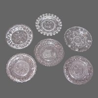 Mixed Lot of 6 Antique Glass Cup Plates