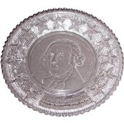 Early American Sandwich Pattern Glass Cup Plate – George Washington