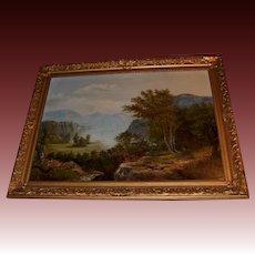 Framed 19th C. Hudson River Scene Oil on Canvas