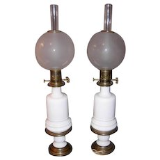 Pair 19th Century Converted Fluid Lamps