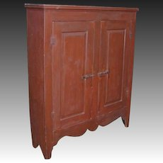 Two Door Raised Panel Cupboard in Old Red Paint