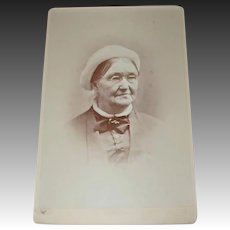 Photo Cabinet Card of Sporty Grandma Bowers wearing Eyeglasses and Tam/Beret Cap