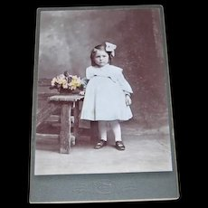 Hand Tinted Photo Cabinet Card of Little Girl in Blue Dress