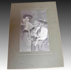 Photo Cabinet Card of Two Women Drinking