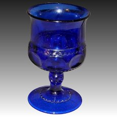 King's Crown Cobalt Thumbprint Wine Goblets