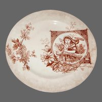 Aesthetic Movement Brown Transferware Plate with Peasant Gardner