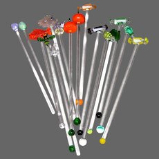 Assorted Novelty Art Glass Stirrers (16 count)