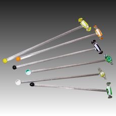 6 Art Glass Stirrers with Wrapped Candy Tops