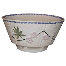 19th c Hand Painted Stick Spatter Stick Cut Sponge Ware Bowl with Majolica Basket Weave Embossed Panels