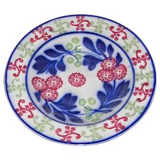 19th c Hand Painted Flowing Blue Stick Spatter Stick Cut Sponge Ware Bowl