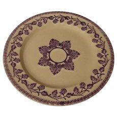 19th c Purple Patterned Stick Cut Sponge Ware Plate