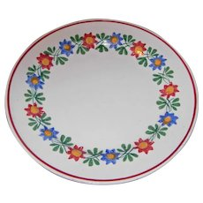 Hand Painted Straw Flower Stick Cut Sponge Ware Plate