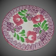 19th c Hand Painted Stick Cut Sponge Ware Plate