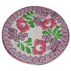19th c Hand Painted Stick Cut Sponge Ware Plate
