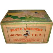 Silver Crescent Japan Tea Tin Lined Wooden Crate w/original Paper Label Advertising