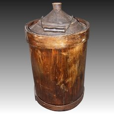 Primitive Bentwood Covered Kerosene Can with Handle