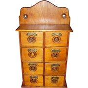 Vintage 8 Drawer Spice Apothecary with Brass Name Plates