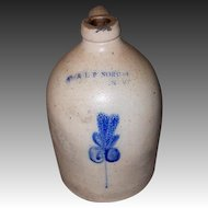 E & L P NORTON One Gallon Stoneware Jug with Leaf Design