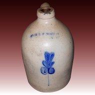 E & L P NORTON One Gallon Stoneware Jug with Leaf Design